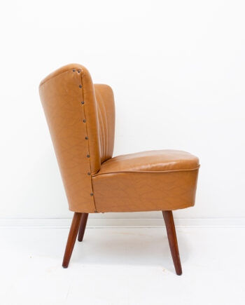 Lichtbruine cocktailstoel Mid-Century jaren 60