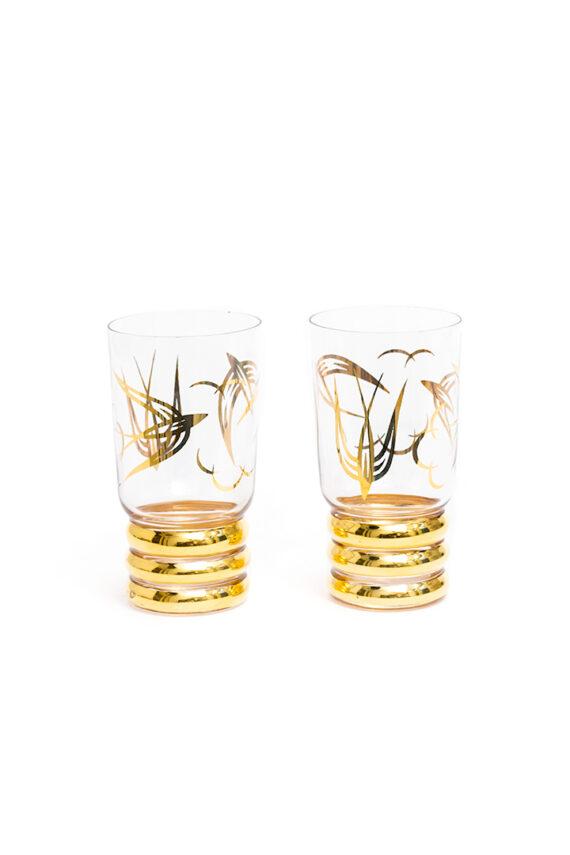 Longdrink glazen jaren 50 verguld met zwaluwen - set van 2