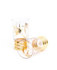Longdrink glazen jaren 50 verguld met zwaluwen – set van 2