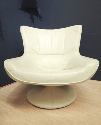 Luxe vintage space age lounge fauteuil leer wit