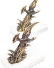 Marmeren boekensteun met messing vogel set van 2