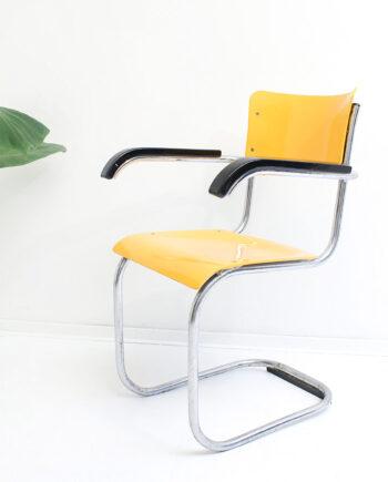 Mart Stam x Thonet B43/1F vintage buisstoel geel