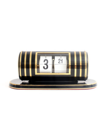 Messing Kohler flipklok jaren 60 zwart Art Deco stijl