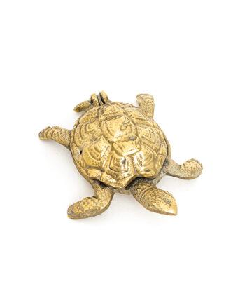 Messing schildpad asbak met deksel vintage