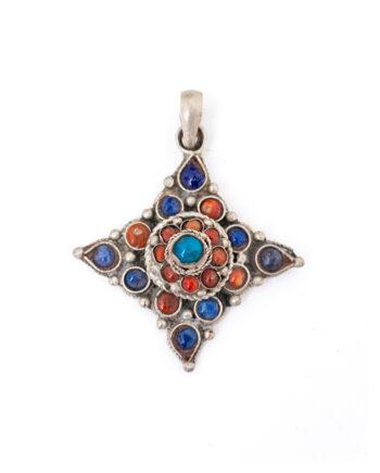 Nepalese hanger ingelegd met turkoois, koraal en lapis lazuli