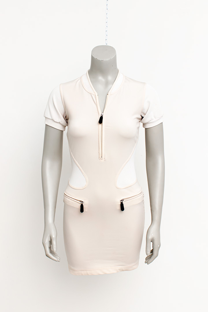 Nude kleurige jurk Marithé + Francois Girbaud