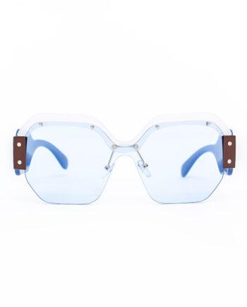 One piece zonnebril met brede rand en metalen details