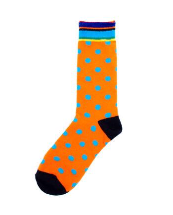 Oranje sokken met blauwe stippen