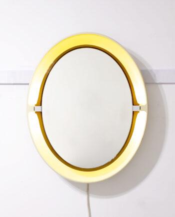 Ovale Allibert spiegel kunststof met ingebouwde verlichting jaren 70