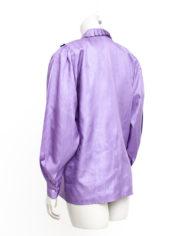 Lila blouse uit de eighties met een bijzondere plissé kraag