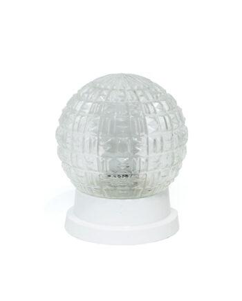 Plafonnière bol van glas met witte voet vintage