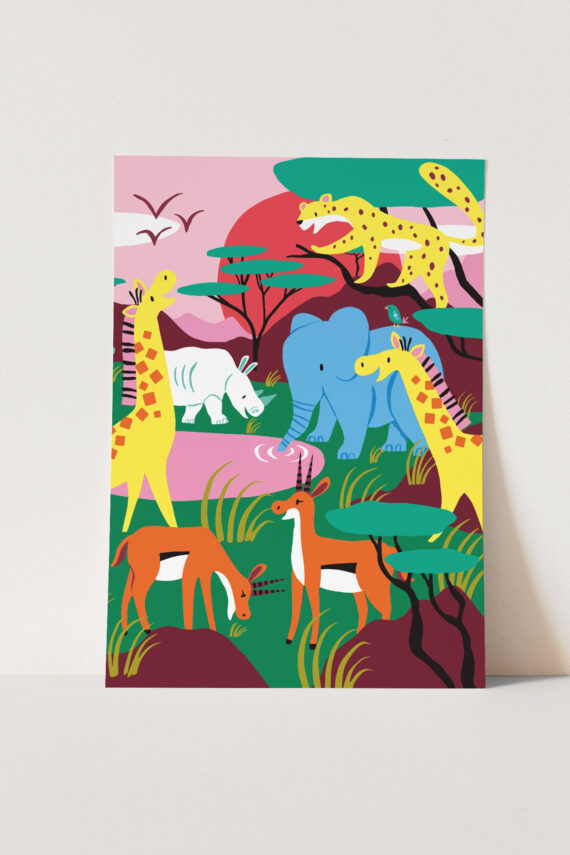 Poster A3 Safari Marijke Buurlage