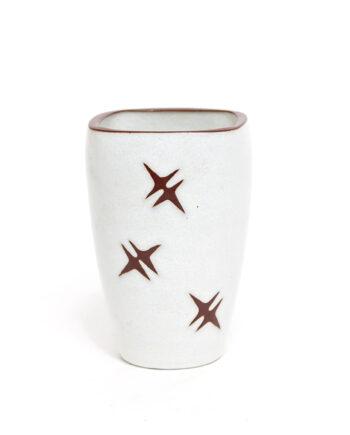 Ravelli vaas wit met bruine sterren vintage