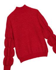 Rode trui vintage-look met pofmouwen