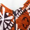 Roestbruine vintage playsuit met zwart-witte batik print