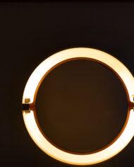 Ronde Alibert spiegel met lampen jaren 70