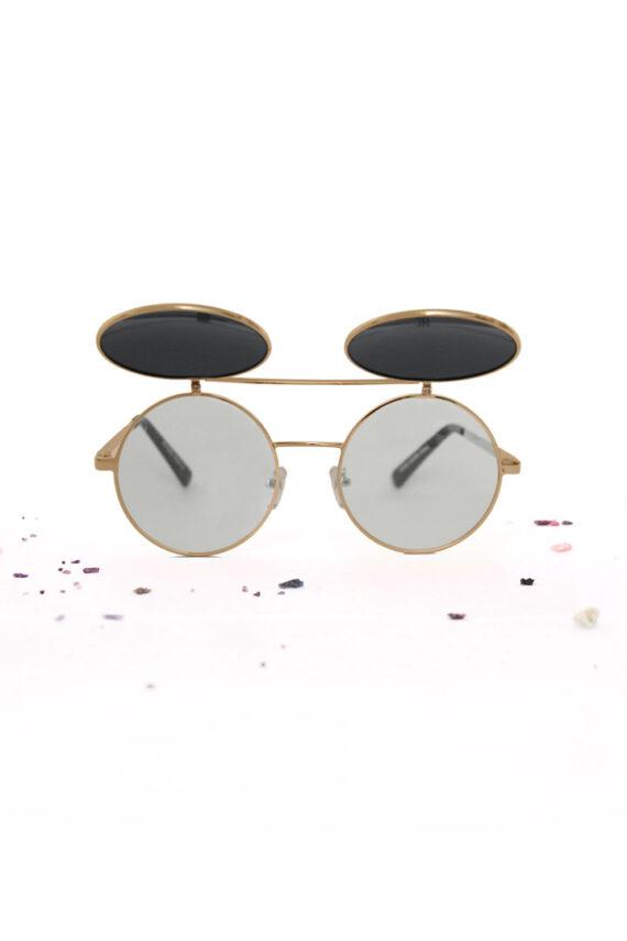 Ronde metalen flip up zonnebril unibrow