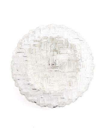 Ronde plafonnière vintage met bewerkt glas doolhof