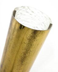 Ronde tafellamp van messing en textuurglas vintage