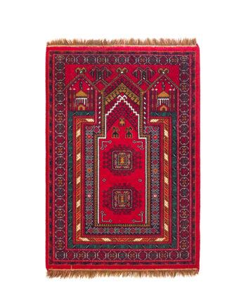 Rood tapijt met groen en bruin patroon 140x102 cm