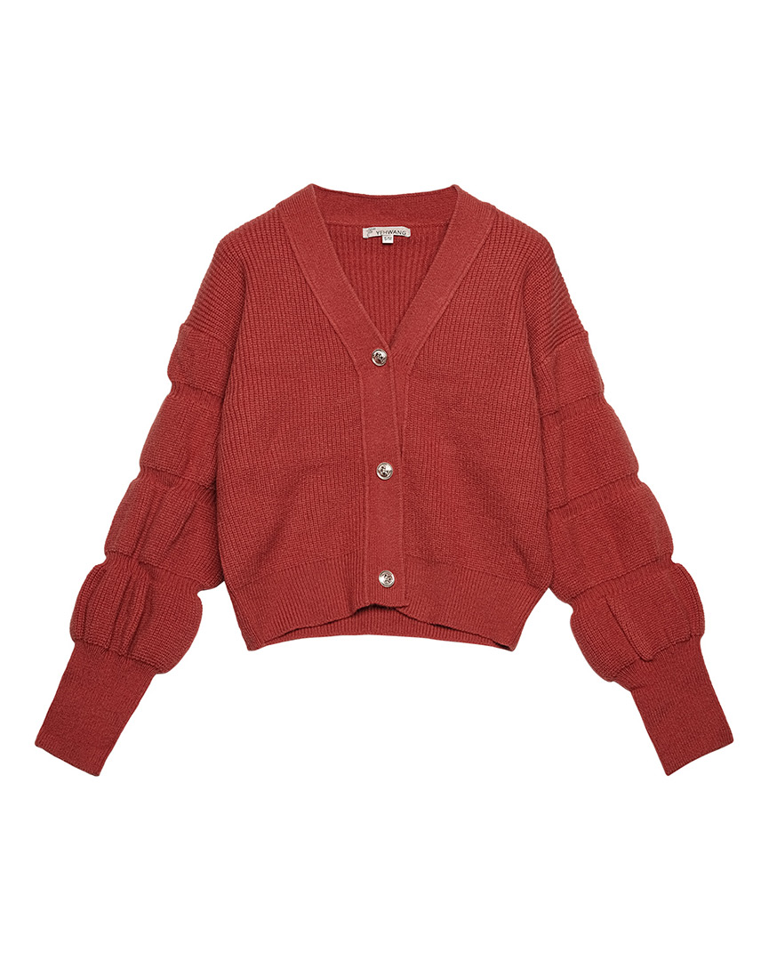 Rood vest met pofmouwen en knopen vintage-look