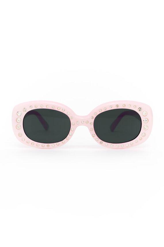 Roze zonnebril met strass steentjes