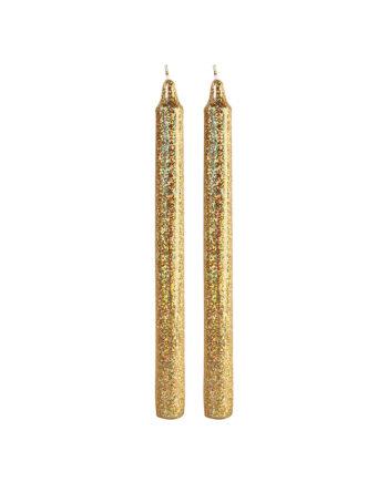 Set van 2 gouden glitter kaarsen