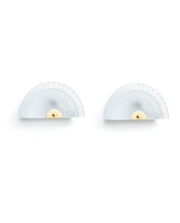 Set van twee jaren 90 wandlampen waaier glas Happylight