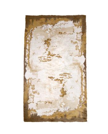 Seventies hoogpolig vloerkleed wol in bruine en crèmekleurige tinten
