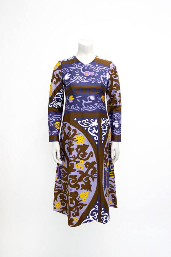 Seventies jurk met kleurrijk patroon Heikkilä Finland vintage
