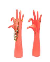 Sieradenhouders handen neon roze – set van 2