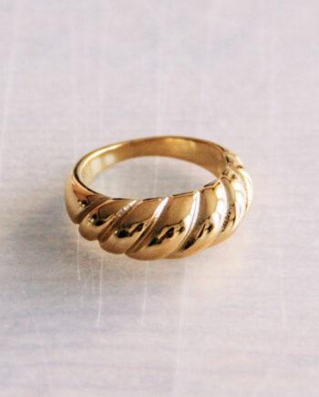 Stalen croissant ring goud- of zilverkleurig Bazou