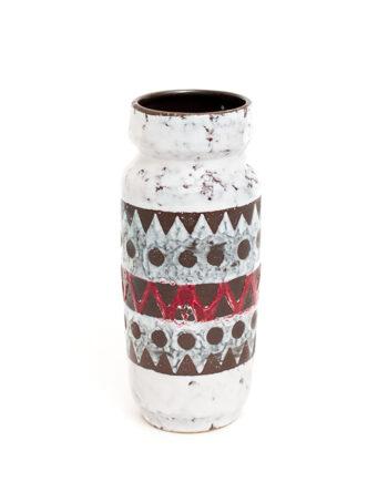 Strehla vaas vintage met wit fat lava glazuur en zigzag patroon