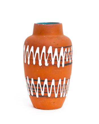 Terracotta vaas Scheurich met zigzag patroon en petrol binnenzijde