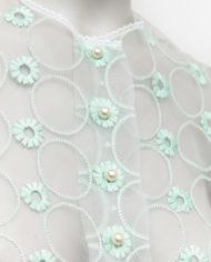 Vintage kanten top / capeje met mintgroene borduursels van bloemen en cirkels