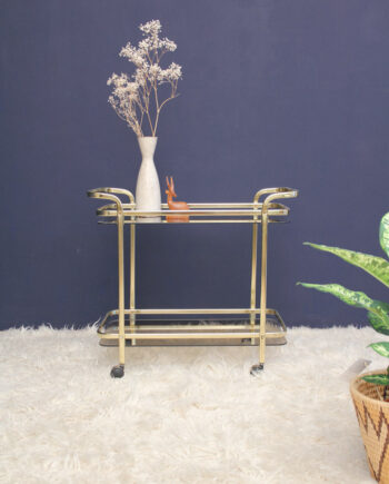 Trolley goud bar cart theewagen met glas
