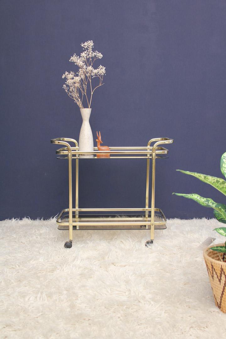 Trolley goud bar cart theewagen met glas