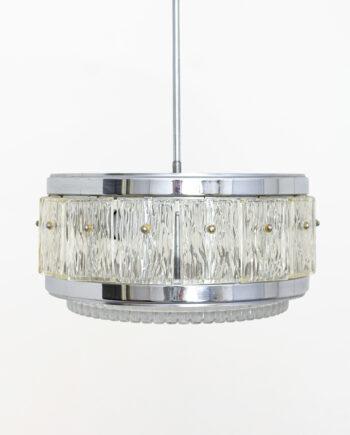 Verchroomde hanglamp met kristallen glasplaten jaren 60