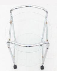 Verchroomde ronde serveerwagen met glazen platen