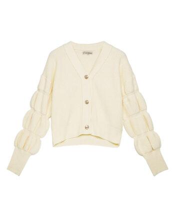 Vest met pofmouwen en knopen vintage look crèmekleurig