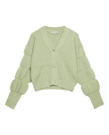 Vest met pofmouwen en knopen vintage look groen