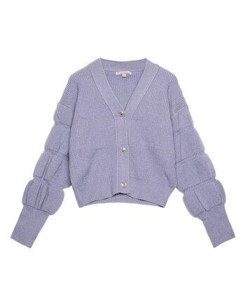 Vest met pofmouwen en knopen vintage look lila