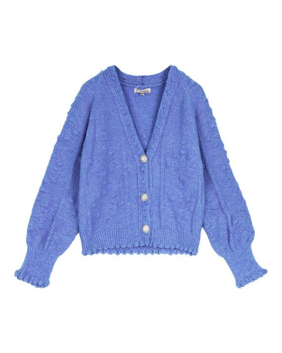Blauw vest vintage-look met zilverkleurige disco knopen