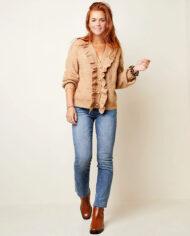 Vest vintage-look met rushes en parelknopen