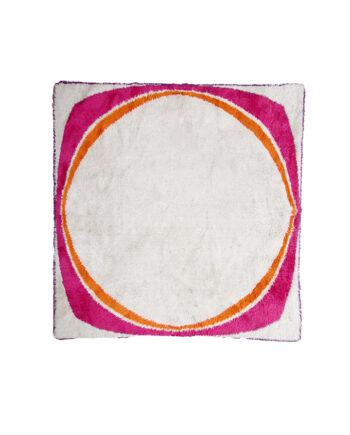 Vierkant vloerkleed hoogpolig jaren 60 in beige, roze, oranje en paars