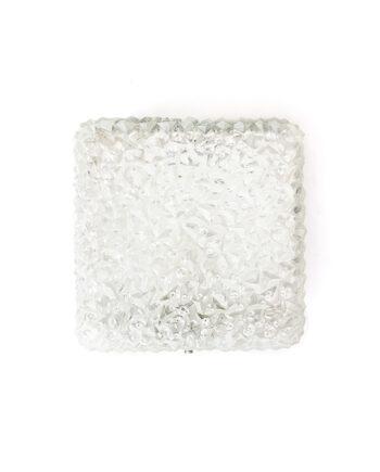Vierkante plafonnière vintage met bewerkt glas Holophane