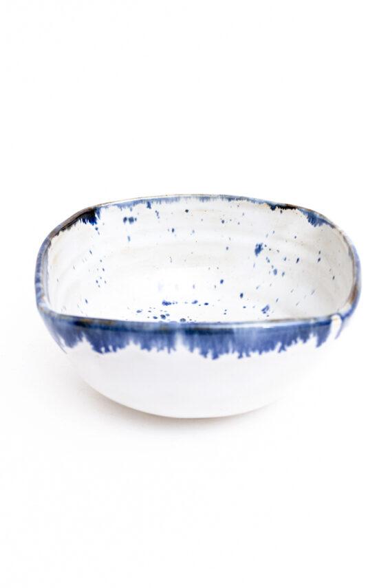 Vierkante schaal keramiek met blauwe spikkels Franck Coutant