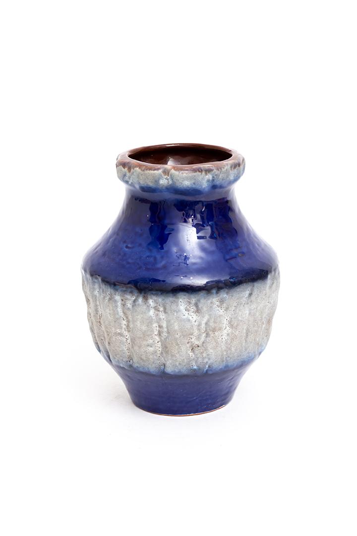 Vintage Carstens vaas met kobaltblauw glazuur en grijze banen