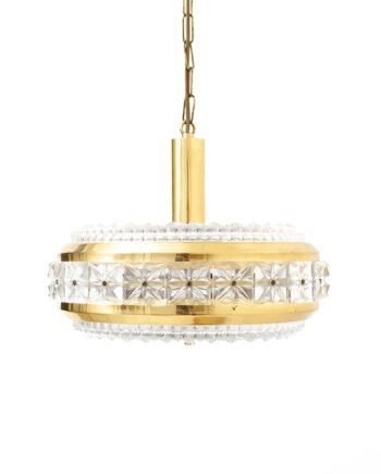 Vintage Deense hanglamp Vitrika 27901 met messing en facetglas
