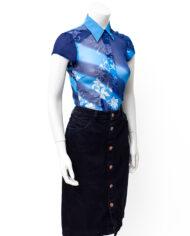 Vintage Dries van Noten blouse blauw chiffon zijde met witte bloemenprint
